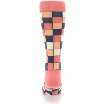 Image of Coral Peach Checkered Men's Dress Socks (back-18)