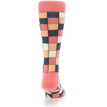 Image of Coral Peach Checkered Men's Dress Socks (back-19)