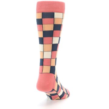Image of Coral Peach Checkered Men's Dress Socks (side-1-back-20)