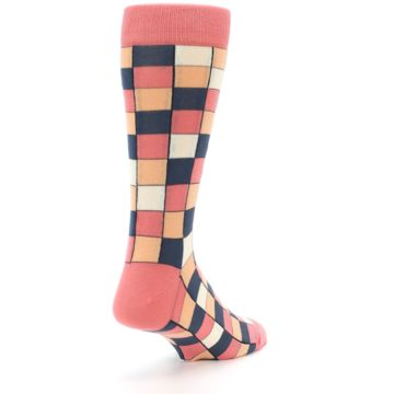 Image of Coral Peach Checkered Men's Dress Socks (side-1-back-21)