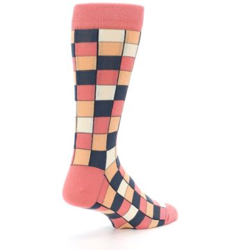 Image of Coral Peach Checkered Men's Dress Socks (side-1-back-22)