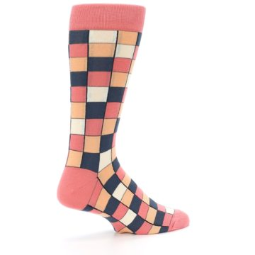 Image of Coral Peach Checkered Men's Dress Socks (side-1-23)