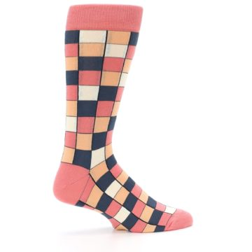 Image of Coral Peach Checkered Men's Dress Socks (side-1-24)