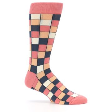 Image of Coral Peach Checkered Men's Dress Socks (side-1-25)