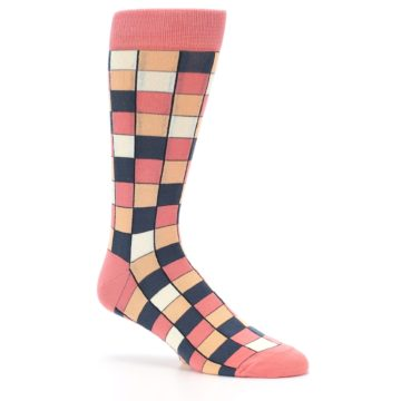 Image of Coral Peach Checkered Men's Dress Socks (side-1-26)