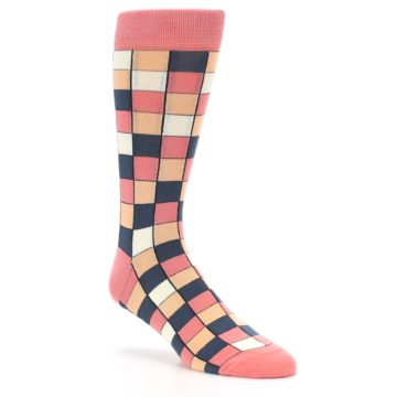 Image of Coral Peach Checkered Men's Dress Socks (side-1-27)