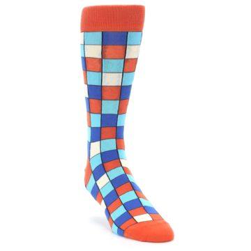 Image of Sunset Orange Blue Checkered Men's Dress Socks (side-1-front-02)