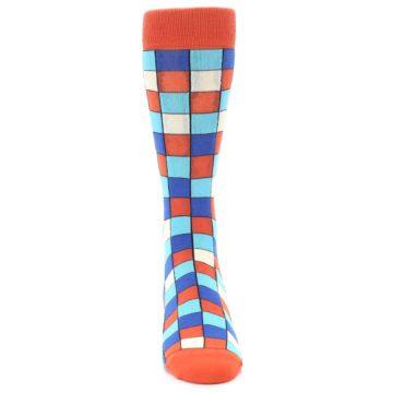 Image of Sunset Orange Blue Checkered Men's Dress Socks (front-04)