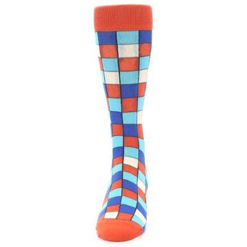 Image of Sunset Orange Blue Checkered Men's Dress Socks (front-05)
