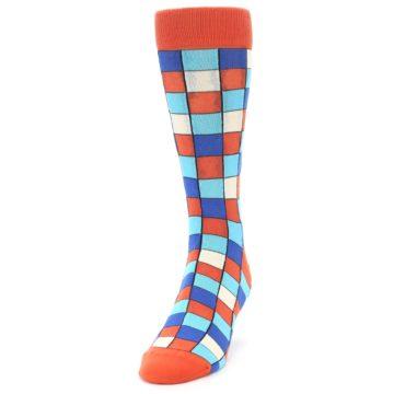 Image of Sunset Orange Blue Checkered Men's Dress Socks (side-2-front-06)