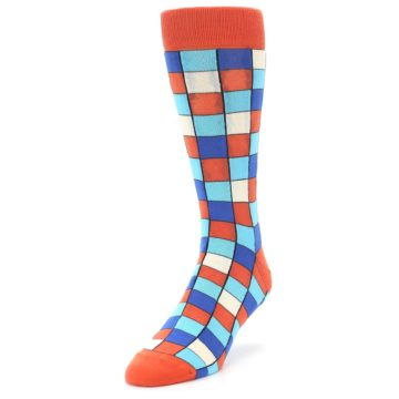 Image of Sunset Orange Blue Checkered Men's Dress Socks (side-2-front-07)