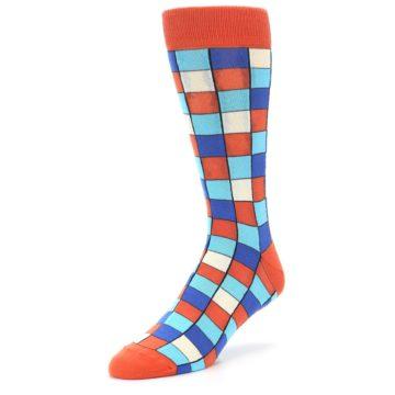 Image of Sunset Orange Blue Checkered Men's Dress Socks (side-2-front-08)