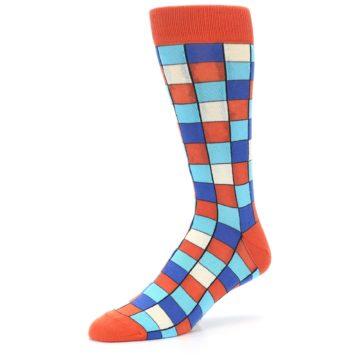 Image of Sunset Orange Blue Checkered Men's Dress Socks (side-2-09)