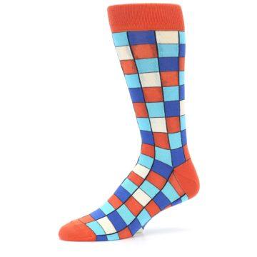 Image of Sunset Orange Blue Checkered Men's Dress Socks (side-2-10)