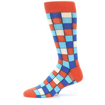 Image of Sunset Orange Blue Checkered Men's Dress Socks (side-2-11)