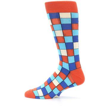 Image of Sunset Orange Blue Checkered Men's Dress Socks (side-2-12)