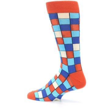 Image of Sunset Orange Blue Checkered Men's Dress Socks (side-2-13)