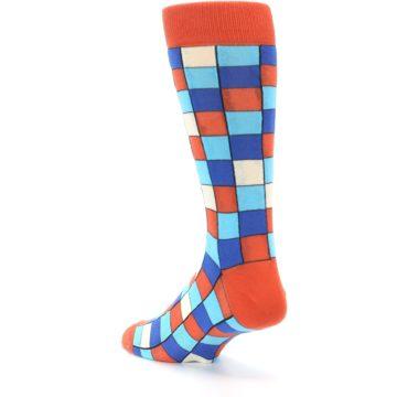 Image of Sunset Orange Blue Checkered Men's Dress Socks (side-2-back-15)