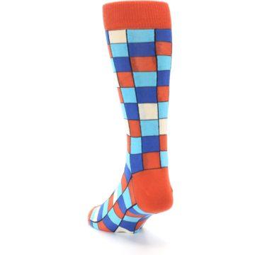 Image of Sunset Orange Blue Checkered Men's Dress Socks (side-2-back-16)