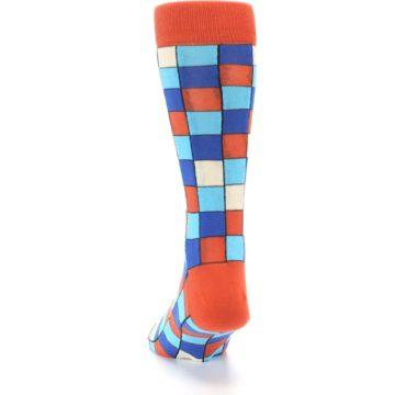 Image of Sunset Orange Blue Checkered Men's Dress Socks (back-17)