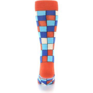 Image of Sunset Orange Blue Checkered Men's Dress Socks (back-18)