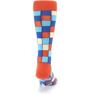 Image of Sunset Orange Blue Checkered Men's Dress Socks (back-19)