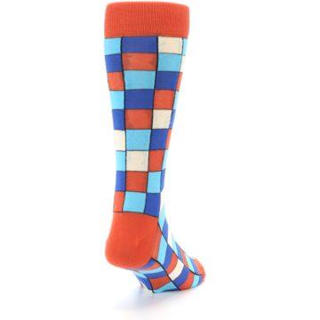 Image of Sunset Orange Blue Checkered Men's Dress Socks (side-1-back-20)