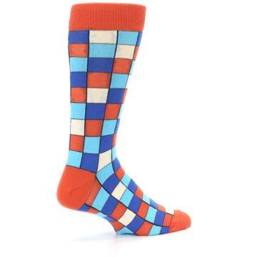 Image of Sunset Orange Blue Checkered Men's Dress Socks (side-1-23)