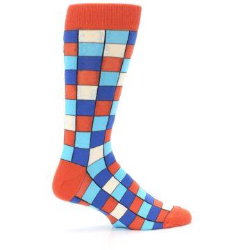 Image of Sunset Orange Blue Checkered Men's Dress Socks (side-1-24)
