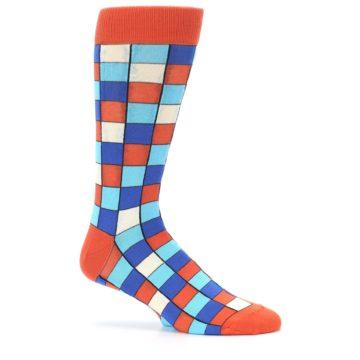 Image of Sunset Orange Blue Checkered Men's Dress Socks (side-1-25)