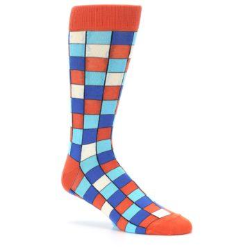 Image of Sunset Orange Blue Checkered Men's Dress Socks (side-1-26)