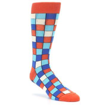 Image of Sunset Orange Blue Checkered Men's Dress Socks (side-1-27)
