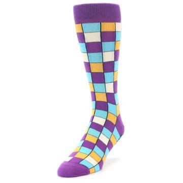 Image of Purple Pool Orange Checkered Men's Dress Socks (side-2-front-07)