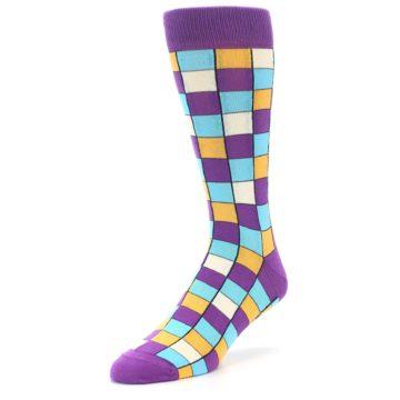 Image of Purple Pool Orange Checkered Men's Dress Socks (side-2-front-08)