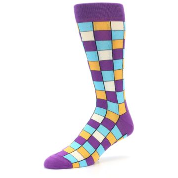 Image of Purple Pool Orange Checkered Men's Dress Socks (side-2-09)
