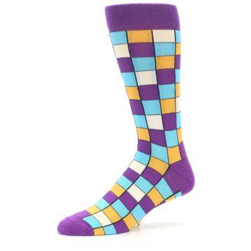 Image of Purple Pool Orange Checkered Men's Dress Socks (side-2-10)