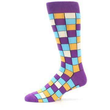 Image of Purple Pool Orange Checkered Men's Dress Socks (side-2-11)