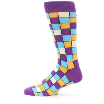 Image of Purple Pool Orange Checkered Men's Dress Socks (side-2-12)