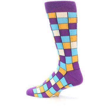 Image of Purple Pool Orange Checkered Men's Dress Socks (side-2-13)