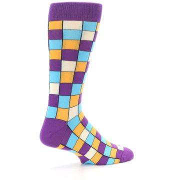 Image of Purple Pool Orange Checkered Men's Dress Socks (side-1-23)
