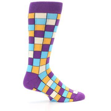 Image of Purple Pool Orange Checkered Men's Dress Socks (side-1-24)