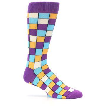 Image of Purple Pool Orange Checkered Men's Dress Socks (side-1-25)