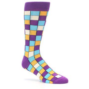 Image of Purple Pool Orange Checkered Men's Dress Socks (side-1-26)