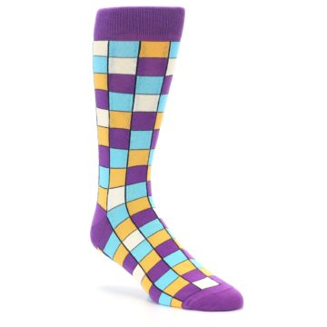 Image of Purple Pool Orange Checkered Men's Dress Socks (side-1-27)