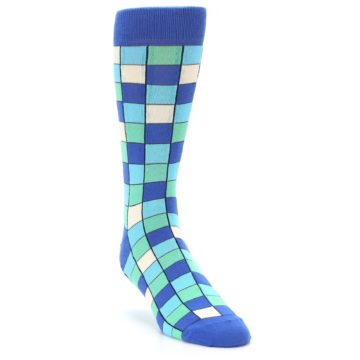 Image of Blue Teal Checkered Men's Dress Socks (side-1-front-02)