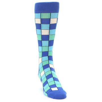 Image of Blue Teal Checkered Men's Dress Socks (side-1-front-03)