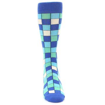 Image of Blue Teal Checkered Men's Dress Socks (front-04)