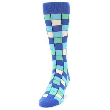 Image of Blue Teal Checkered Men's Dress Socks (side-2-front-06)