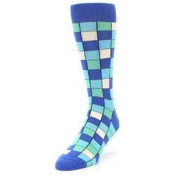 Image of Blue Teal Checkered Men's Dress Socks (side-2-front-07)