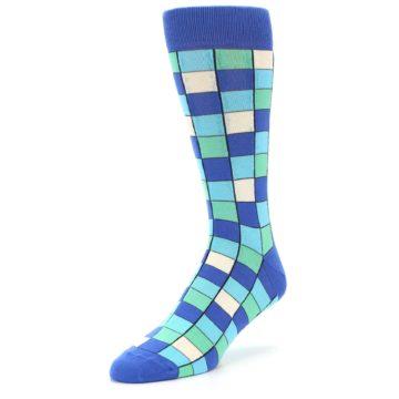 Image of Blue Teal Checkered Men's Dress Socks (side-2-front-08)